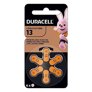 Bateria para aparelhos auditivos 1.45 V Duracell 13 PR48 (Blister com 6)