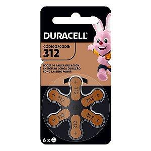 Bateria para aparelhos auditivos 1.4V Duracell 312 PR41 (Blister com 6)