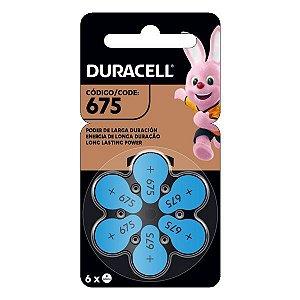 Bateria para aparelhos auditivos 1.45V Duracell 675 PR44 (Blister com 6)