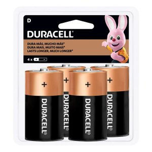 Pilha D alcalina 1.5V Duracell (Blister com 4)
