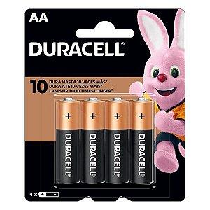 Pilha AA alcalina 1.5V Duracell (Blister com 4)