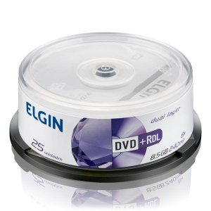 DVD+R Elgin 8,5 Gb 240 min 8x Dual layer - Pino com 25 unidades (82095)