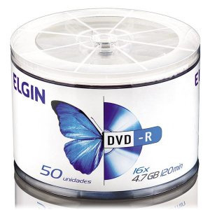 DVD-R Elgin 4,7 Gb 120 min 16x - Embalagem com 50 unidades (82117)