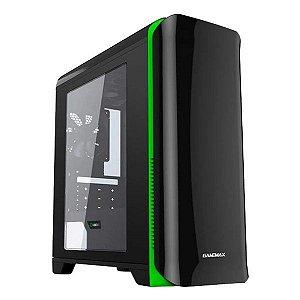 Gabinete gamer Gamemax H602 preto/verde