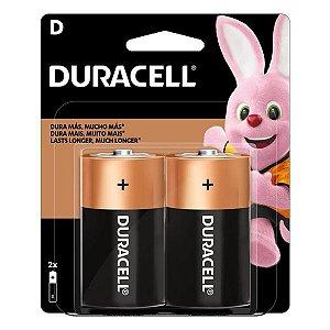Pilha D alcalina 1.5V Duracell (Blister com 2)