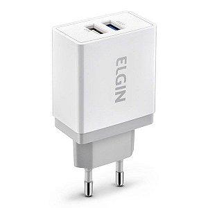 Carregador 2 saídas USB para tomada bivolt Elgin Quick Charger 2.0 (46RCT2USBQC0)