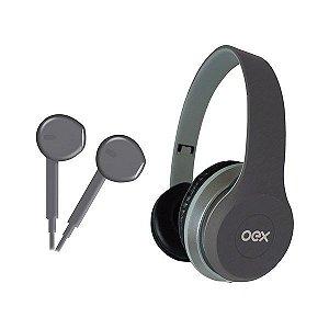 Combo headset e fones de ouvido oex Twin HF100 cinza (48.5829)