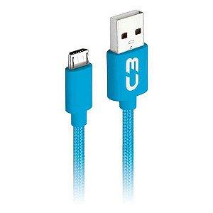 Cabo micro USB 2.0 AM x USB 1 metro C3Plus CB-M11BLX