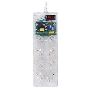 Protetor de surto 3 pinos 10A bivolt Clamper iClamper Energia 8 com filtro de linha 8 tomadas transparente