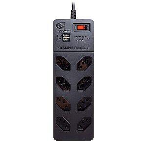 Protetor de surto 3 pinos 10A bivolt Clamper iClamper Energia 8 USB com filtro de linha 8 tomadas preto
