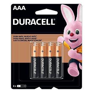 Pilha AAA alcalina 1.5V Duracell (Blister com 8)