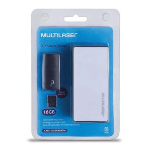 Kit smartphone power bank + pen drive + micro SD 16 Gb Multilaser MC220