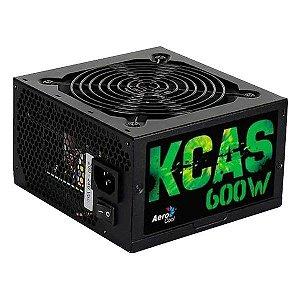 Fonte de alimentação ATX 600W reais 80Plus Bronze Aerocool KCAS-600W
