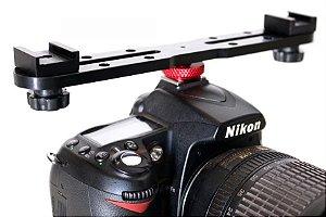 Suporte Bracket P/ Flach Led Microfone Dslr Canon Nikon