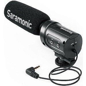 Microfone Condensador Saramonic SR-M3 Mini com Montagem Integrada Shockmount