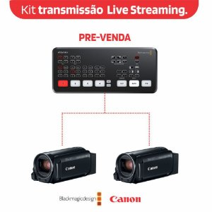 Kit de Transmissão Live Streaming Atem Mini + 02 Canon R800