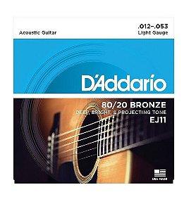 Encordoamento D'addario Violão 6C Bronze 80/20 EJ11