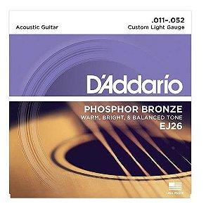 Encordoamento D'addario Violão 6C Phosphor Bronze EJ26