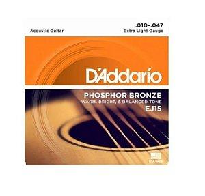 Encordoamento D'addario Violão 6C Phosphor Bronze EJ15