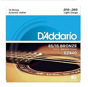 Encordoamento D'addario Violão 12C Bronze EZ940