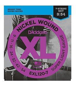 Encordoamento D'addario Guitarra Níquel Wound EXL120-7