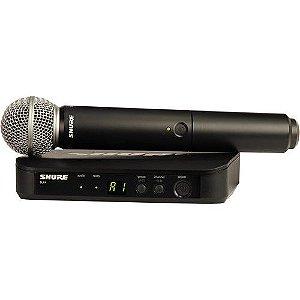 Sistema Microfone Shure BLX24RBR/SM58-M15 S/ Fio em Rack