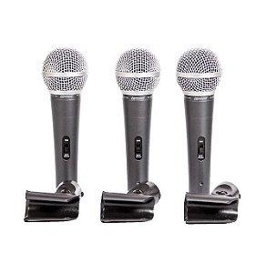 Microfone Lexsen LCM1800 KIT com 3 c/Fio Profissional