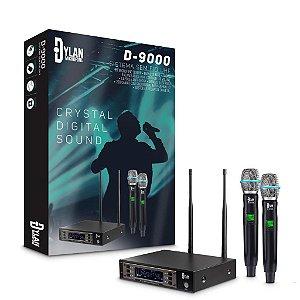 Microfone Sem Fio Duplo Profissional Dylan D-9000 200 Canais