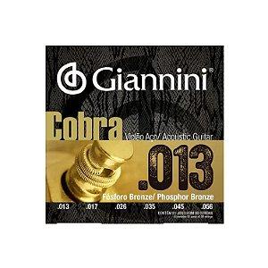 Encordoamento Giannini Violão Fosfor Bronze GEEFLXF 0.13 Aço