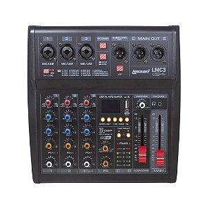 Mesa de Som Lexsen 3 Canais LMC3 com Interface e Bluetooth