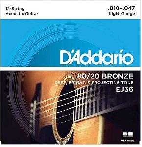 Encordoamento D'ADDARIO para violão  EJ36 - Bronze 80/20