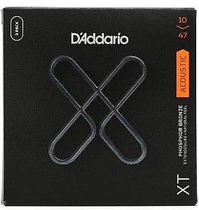 Encordoamento DADDARIO p/ violão XTAPB1047 - Bronze 80/20 pacote 3