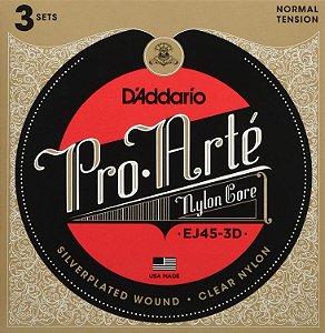 Encordoamento D'ADDARIO para violão EJ45-3D - Nylon pacote com 3