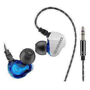 Fone SOUNDVOICE In-Ear Palco Retorno IN-01 Azul