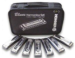 Gaita Hohner Blues Harmonica Kit De Com 7 Harmônicas