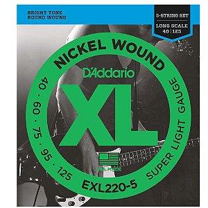 ENCORDOAMENTO DADDARIO BAIXO 5 CORDAS EXL220 5 0.40