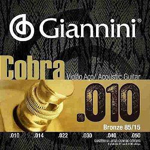 ENCORDOAMENTO P/ VIOLAO GIANNINI GEEFLEF 010 BRONZE 85/15