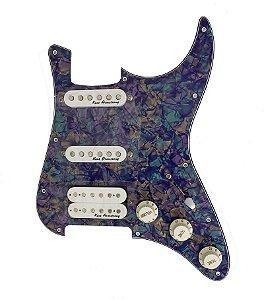 Escudo Condor Azul p/ Guitarra c/ Captador Branco HSS