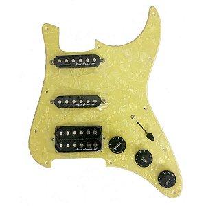 Escudo Condor Aged White p/ Guitarra c/Captador Preto HSS