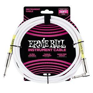 Cabo Ernie Ball P06049 3,04m Reto/L Branco