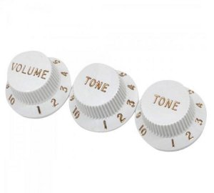 Knobs Fender Guitarra Stratocaster Branco 2 Tone 1 Volume