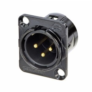 Conector Rean Neutrik XLR Painel Macho 3 Polos Preto RC3MDLB