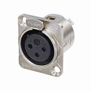 Conector Rean Neutrik XLR Painel Fêmea 3 Polos Nickel RC3FDL