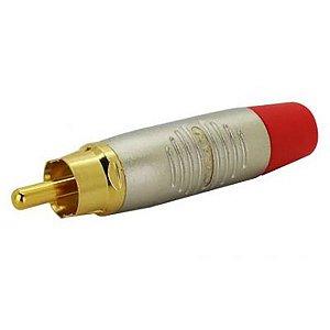 Conector Rean Neutrik RCA Cabo Macho Nickel Gold RF2C-AU-2