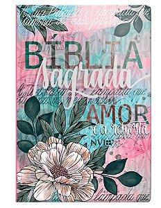 Bíblia NVI grande especial Flor Artística
