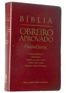 BIBLIA OBREIRO APROVADO MEDIA HARPA LUXO VINHO