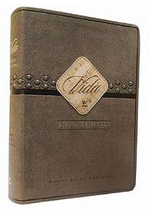 Bíblia de Estudo Vida - Luxo Marrom e Café