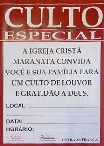 Cartaz - Culto especial - 10 UNIDADES