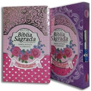 Bíblia Sagrada - Harpa Avivada e Corinhos - Letra Extra gigante - Capa ROSA