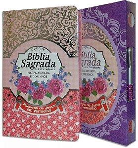 Bíblia Sagrada - Harpa Avivada e Corinhos - Letra Extra gigante - Capa VERMELHA